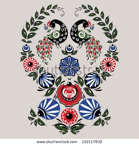 Illustration with flowers and birds in the Russian traditional style (Gorodets).