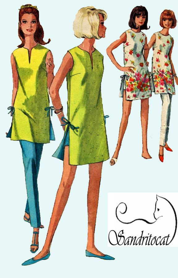 1960s Beach Dress with Side Ties with Hot Pants or Ankle Pencil Pants Simplicity 6011 Vintage Mod Sewing Pattern Size 10 Bust 31 UNCU by sandritocat on Etsy