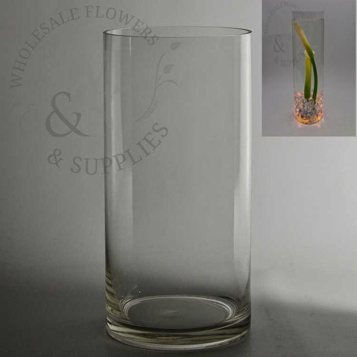 "10"" x 4 ¾"" Clear Glass Cylinder Vase - WholesaleFlowersAndSupplies.com"