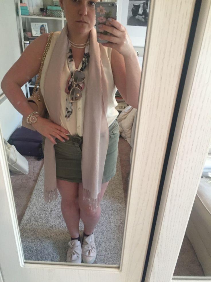 Petite Curvy | Pink, Cream & Olive. Blouse, Paper Dolls. Mini skirt, Pimke. Scarf, M&S. Shoes, vest, Primark. Purse, SuperFlyeBags. Necklace, Earrings, Bracelet, Algie's. Watch, Kate Spade Metro.
