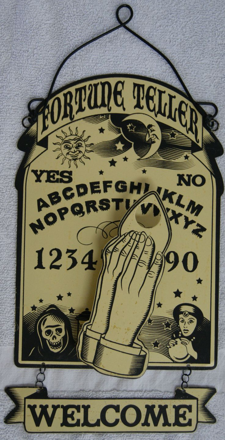 Every home should have one...  Fortune Teller Welcome Metal Hanging Sign with Spring Mounted Waving Hand