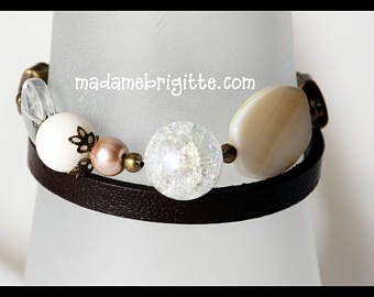Bracelet wrap 2 tours cuir véritable brun billes de verre perle et accessoires en laiton antique