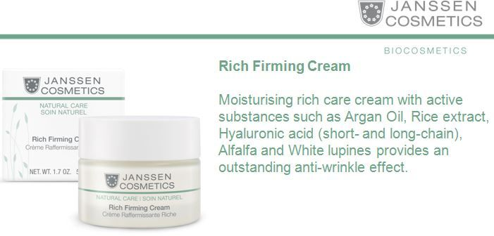 Rich Firming Cream • Specially formulated from Organic ingredients • Skin care cream with proven anti-wrinkle effect • Hydrates and nourishes the skin • Skin is more resilient and firm • Suitable for Vegans http://www.janssen-cosmetics-shop.ie/biocosmetics/rich-firming-cream.html