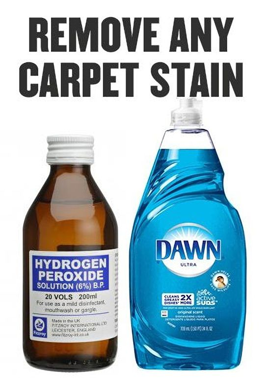 Remove Any Carpet Stains With Hydrogen Peroxide And Blue Dawn Dish Soap