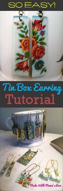 If you ever come across vintage floral tin boxes , snatch them up! They make really unique jewelry.  Here is a tutorial to make beautiful DIY vintage earrings that are so fast to make!