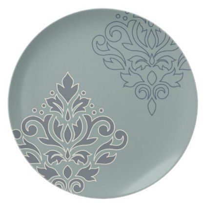 Scroll Damask Art I (outline) Cream Blues Teal Plate - kitchen gifts diy ideas decor special unique individual customized