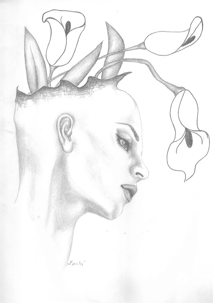drawing head with flowers by Folkana.deviantart.com on @deviantART