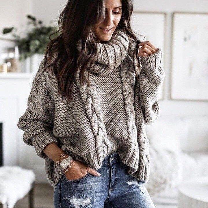 Hand knit Grey Oversized sweater gray Arm knit sweater