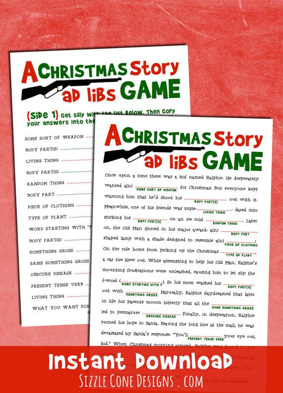 "Christmas Madlibs - A Holiday Party Game Inspired By The Cult Classic movie ""A Christmas Story."" Download your PDF today. I triple dog dare you."