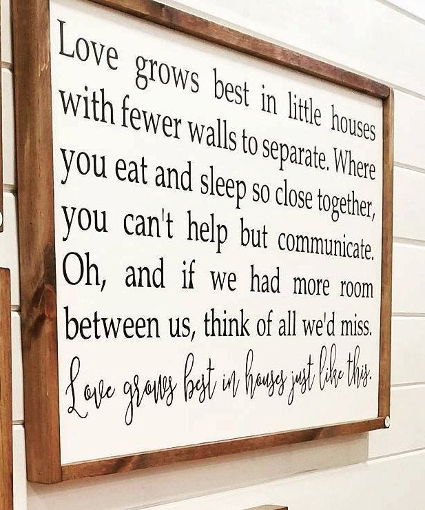 Love Grows Best in Little Houses Hand Painted Wood Sign: Chic Farmhouse, Rustic Decor, Wall Art, Home Decor, Housewarming Gift by WisteriaLaneHD on Etsy https://www.etsy.com/listing/491710871/love-grows-best-in-little-houses-hand
