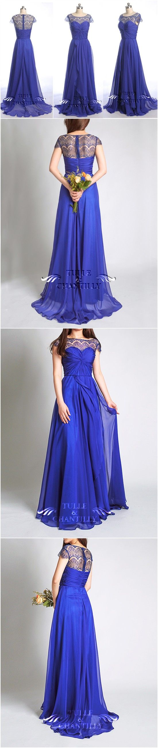 Purple Weding Colors - Bateau Neck Lace Cap Sleeves Concord Chiffon and Lace Bridesmaid Dresses - See more at: http://www.tulleandchantilly.com