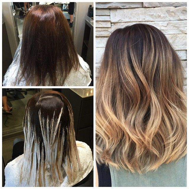 Color correction from dark to warm golden blonde hair @shannonhairsalon…