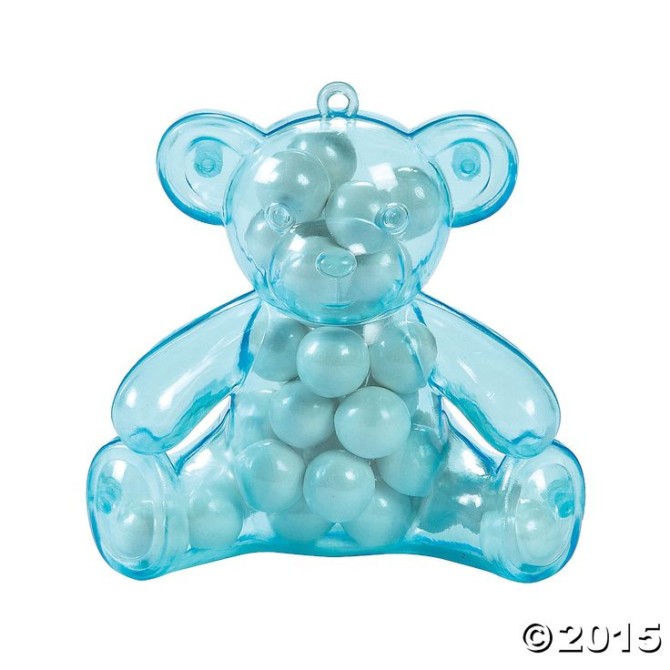 Blue Teddy Bear Plastic Containers - 12 Pk Party Supplies Canada - Open A Party