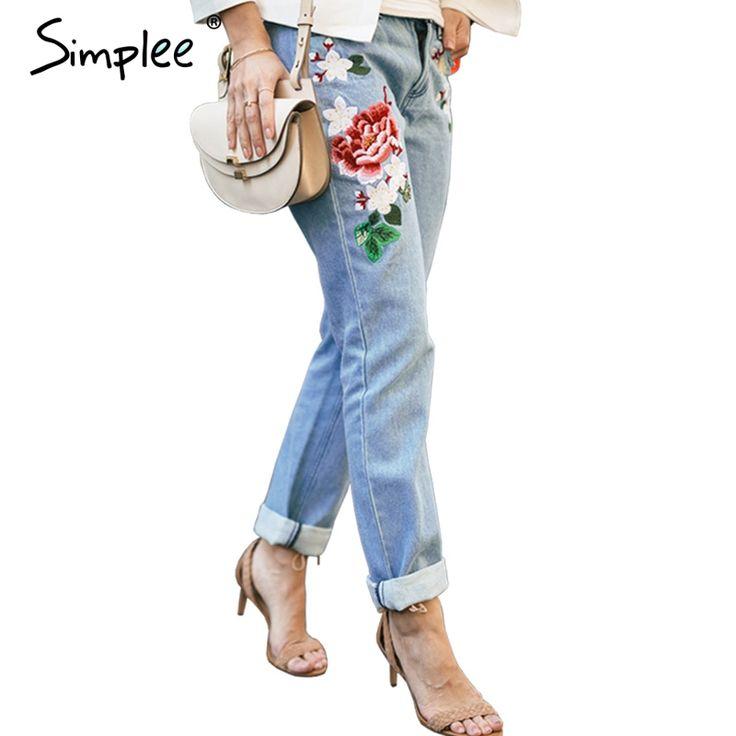 Simplee Floral bordado pantalones vaqueros cremallera de Invierno pantalones vaqueros rectos del dril de algodón de las mujeres de Moda femenina pantalones vaqueros de bolsillo de color azul claro