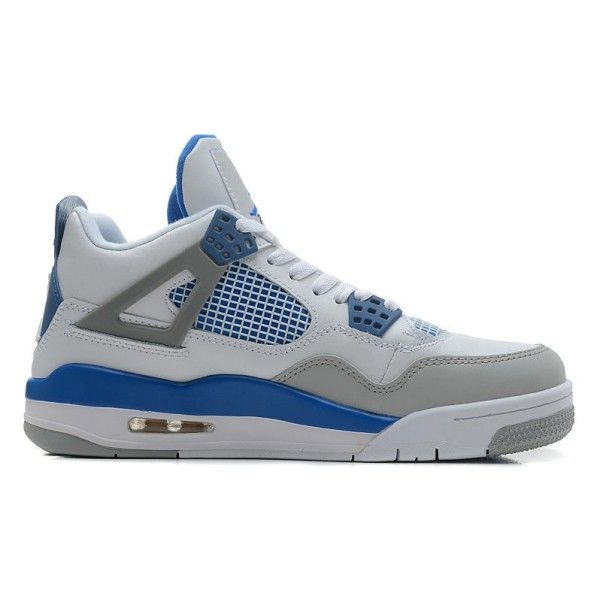 newest mens air jordan 4 retro basketball shoes with white military blue  neutral grey up to