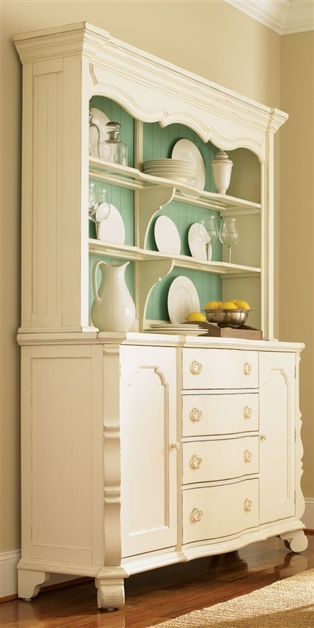 white and turquoise hutch