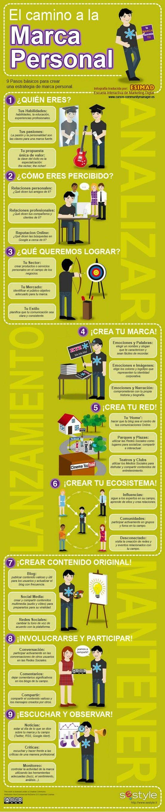 9 pasos para crear tu marca personal | Infografías de Marketing