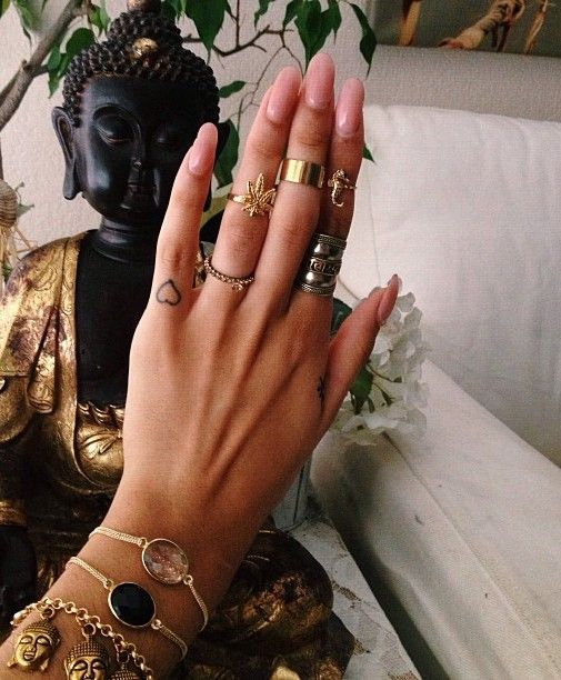 Boho stacked gold rings + bangles