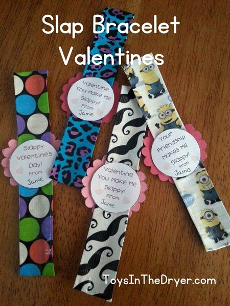 How to make Slap Bracelet Valentines  with duct tape, a measuring tape, scissors, and this FREE PRINTABLE.