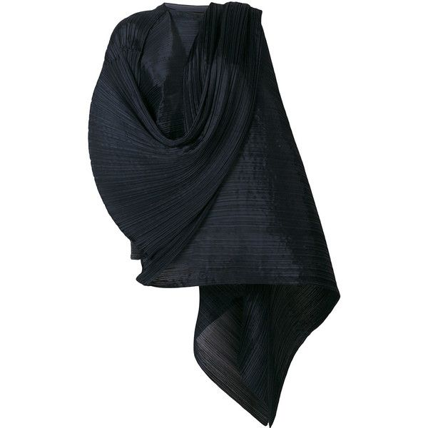 Pleats Please By Issey Miyake oversized pleated scarf ($420) ❤ liked on Polyvore featuring accessories, scarves, blue, oversized scarves, blue shawl, pleats please by issey miyake and blue scarves