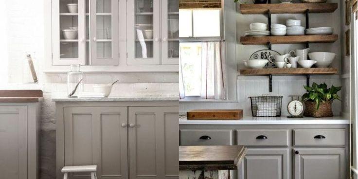 Серый кухонный гарнитур шебби шик