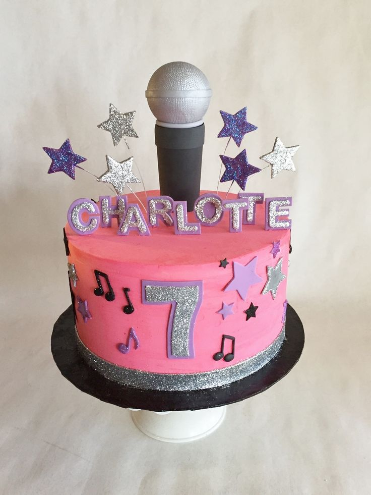 Birthday Cake | Kid's Cake | Microphone | Stars | Music | buttercream | fondant appliques | baked custom cakes
