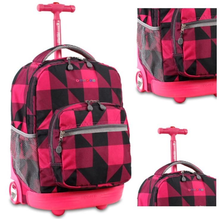 Student Girls School Backpack Rolling Wheeled Telescoping Pink Teen Fashion Bag Kids Travel Carry on luggage Product Description: - Type: 18 inch Girls Backpack - Style: Rolling Wheeled - Theme: Fashion Pink, Black Plaid - Exterior Pocket:...