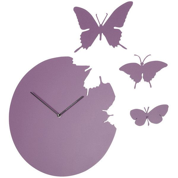 Diamantini & Domeniconi Large Butterfly Wall Clock - Purple ($237) ❤ liked on Polyvore featuring home, home decor, clocks, purple, purple clock, battery operated clock, handmade clocks, battery powered wall clock and dial clock