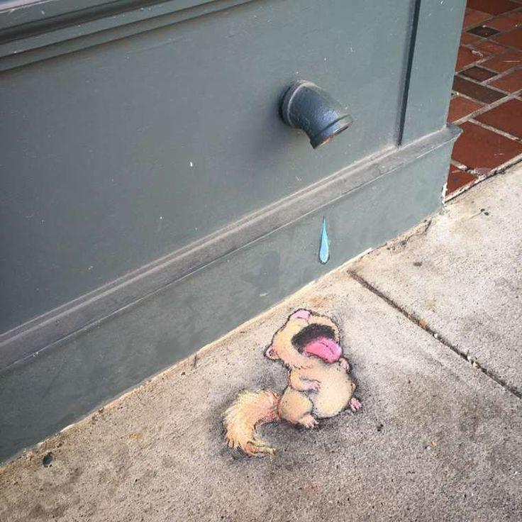 Du street-art réalisé à la craie qui s'intègre parfaitement au décor