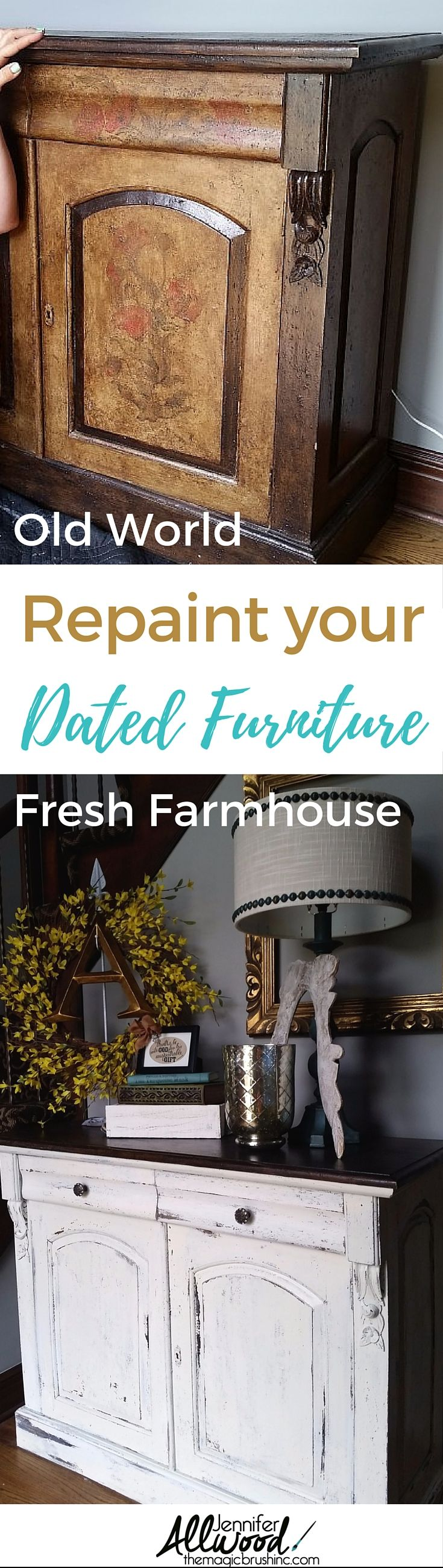 How to paint dated Old World furniture into fresh white farmhouse furniture. This white furniture tutorial and makeover will inspire you to update your living space into a farmhouse feel! More Painting Tips, Design Advice and furniture makeovers at theMagicBrushinc.com