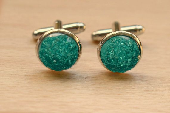Mint Green AB Druzy Cuff Links  Cuff Links For by SkadiJewelry