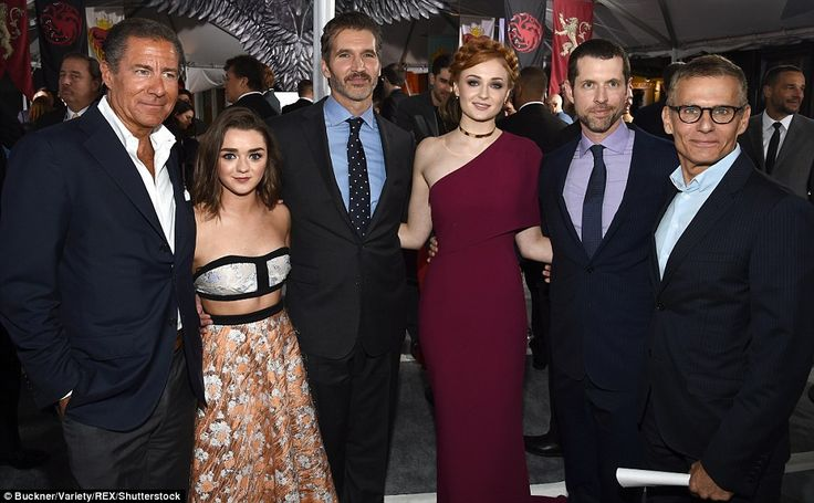 With the bosses: The Stark sisters gathered with Richard Plepler, David Benioff, Dan Weiss...