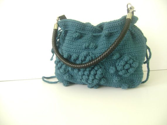 Handmade Petrol Blue Knit Bag, Celebrity Style,Crochet winter bag- shoulder bag- crochet bag- hand made