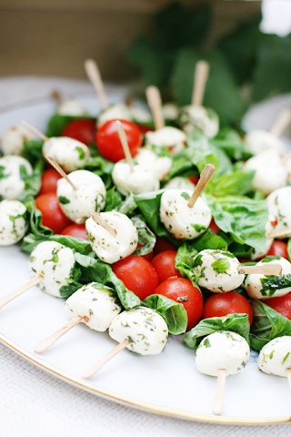 caprese bites - made some basil oil to drizzle over the top on the platter, too.