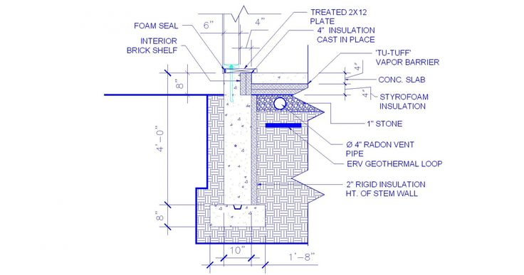 This detail shows the configuration of the vertical XPS insulation on the interior side of the concrete frost wall and the horizontal XPS insulation under the slab. Image 17 of 21  (free content but registration required)