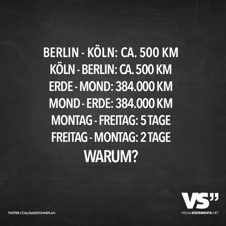 Berlin - Köln: ca. 500km, Köln - Berlin: ca. 500km, Erde - Mond: 384.000km, Mond - Erde: 384.000km, Montag - Freitag: 5 Tage, Freitag - Montag: 2 Tage. Warum? - VISUAL STATEMENTS®
