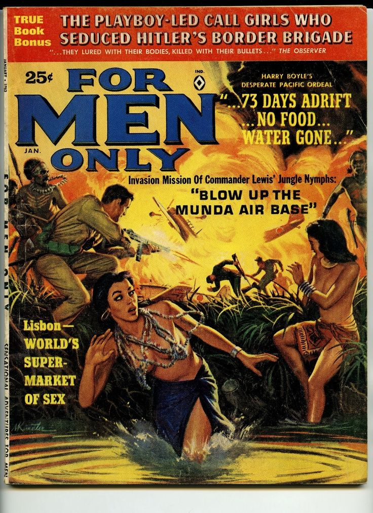 "Rescue of ""Jungle Nymphs"". Sadist Rescue fantasy. Ending Sun, March 19th. March 16th is honored every year by. For Men Only. Overall sound and complete pulp pinup men's magazine. Clean, bright cover. 