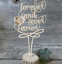 Forever & Ever Amen Callligraphy Laser Cut Wedding Cake Topper w/ photo option
