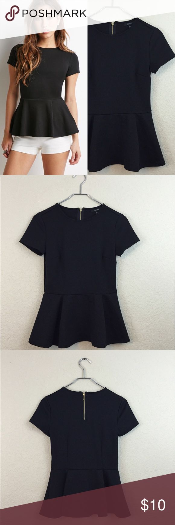 Black peplum top • Forever 21 • pleated peplum  • Worn once no damages • Size small Forever 21 Tops Blouses