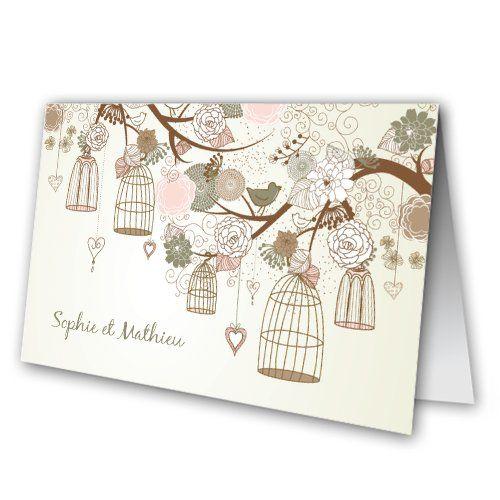 Faire Part Moins Cher - Faire-Part mariage - Oiseaux Fleurs Faire-Part Original - Carte 2 volets - 100x150 mm fermé et 200x150 mm ouvert - 1546