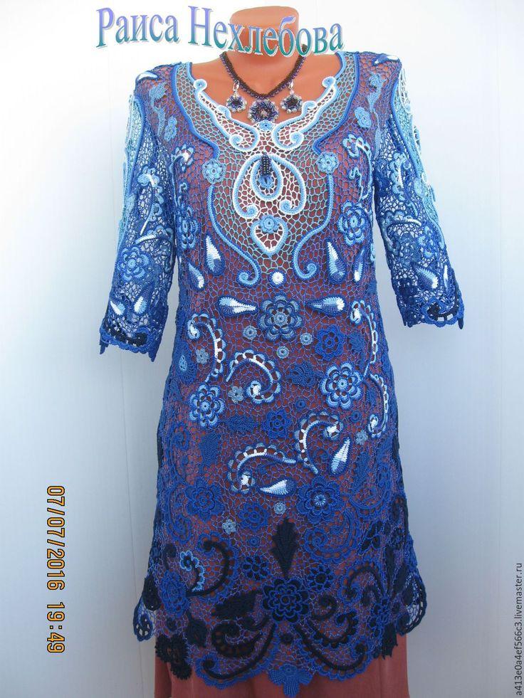 Купить Платье Синяя ночь - цветочный, авторская работа, ирландское кружево, ирландское вязание