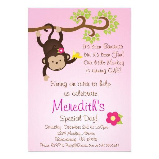 19 best monkey birthday invitations for girls images on pinterest pink mod monkey girls birthday party invite filmwisefo Choice Image