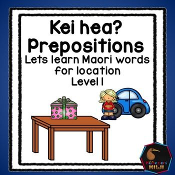 Learn location words in Maori. An activity for NZ classes.This pack features the words waho, roto, runga, raro, mua and muri (out,in, on, under, in front, behind) It links with Maori in the Mainstream curriculum level 1 and is suitable for fluent readers from year 1 + Suitable for immersion or mainstream classesIncluded are- Links to AOs -A suggested lesson sequence- comprehensive instructions- posters that introduce the prepositions- 3 sets of match up games where student matches the…