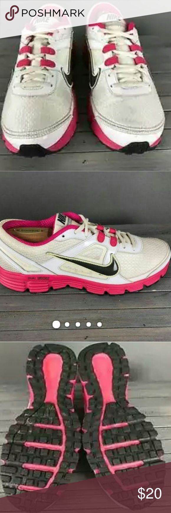 Nike Dual Fusion Tennis Shoes Womens Nike Dual Fusion ST White Pink Athletic Running Tennis Shoes 10 - Womens US Size 7- Very good pre-owned condition All Orders Ship Next Business Day!! Nike Shoes Sneakers