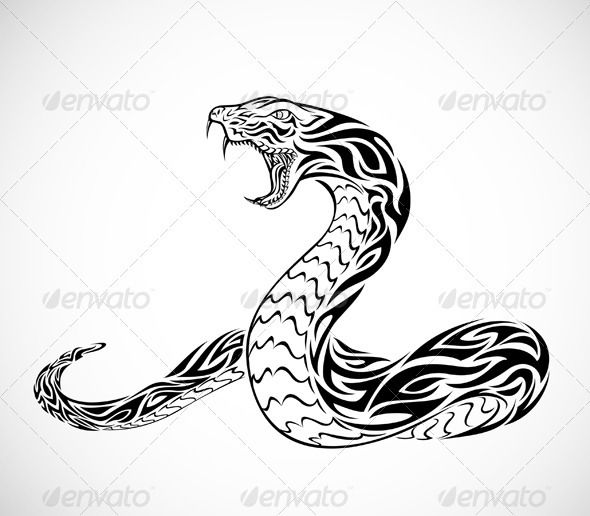 Tribal Snake Tattoo  #GraphicRiver         Illustration of a tribal snake.   This image is a vector illustration and can be scaled to any size without loss of resolution. Included are .eps and .ai file. You will need a vector editor such as Adobe Illustrator or Coreldraw to use this file. All works were created in adobe illustrator.     Created: 13October11 GraphicsFilesIncluded: TransparentPNG #VectorEPS #AIIllustrator Layered: No MinimumAdobeCSVersion: CS Tags: animals #black #fang…