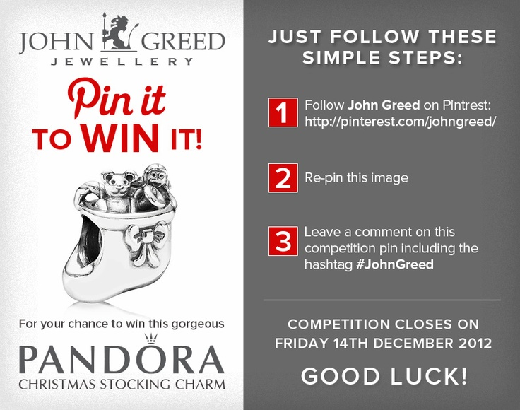 For your chance to win #JohnGreed #Competition goodies, simply follow the steps in the image. Closing date 14/12/12. Important: Your twitter account must be linked to your Pinterest profile! Terms and conditions: http://blog.johngreedjewellery.com/jewellery/competitions/2012/12/pinterested-in-winning-john-greed-goodies/