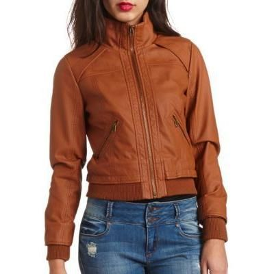 $34, Charlotte Russe Faux Leather Bomber Jacket By Cognac. Sold by Charlotte Russe. Click for more info: https://lookastic.com/women/shop_items/85951/redirect