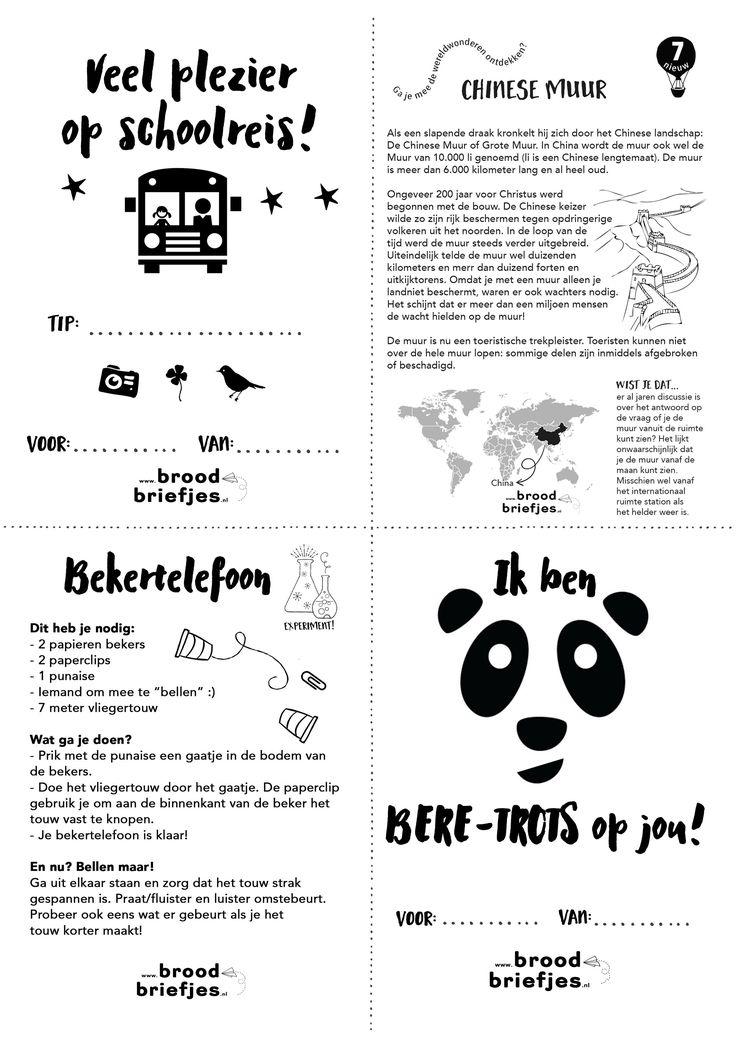 Het einde van het schooljaar komt in zicht, dus vaak ook: een schoolreisje! Deze week een BroodBriefje voor op schoolreis (Whatsapp/Snapchat je 'm liever naar je kind? Kijk dan even op onze nieuwe losse briefjes pagina). We gaan ook weer op ontdekkingstocht langs de wereldwonderen, deze keer de Chinese Muur en we knutselen een toffe …