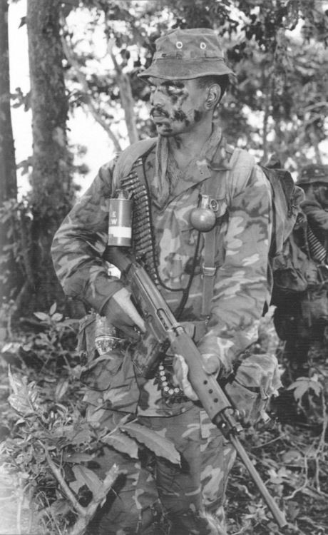 Although smaller in number than their Aussie counterparts, the New Zealand SAS contributed a troop - 25 men and an officer - to Vietnam starting in late 1968, attaching them to the larger Aussie special forces group. Three rotations would pass through the country before New Zealand began to withdraw in late '72. (New Zealand Army) #VietnamWarMemories
