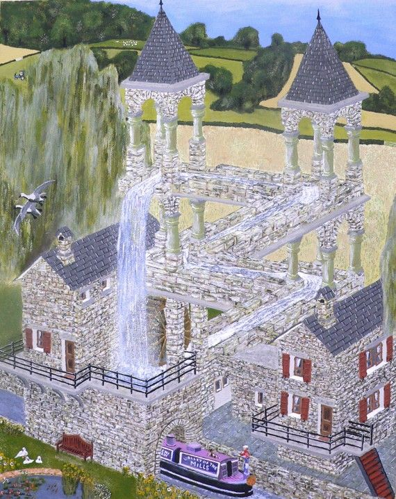 M. C. Escher's Mill landscaped and painted  by ellenisworkshop